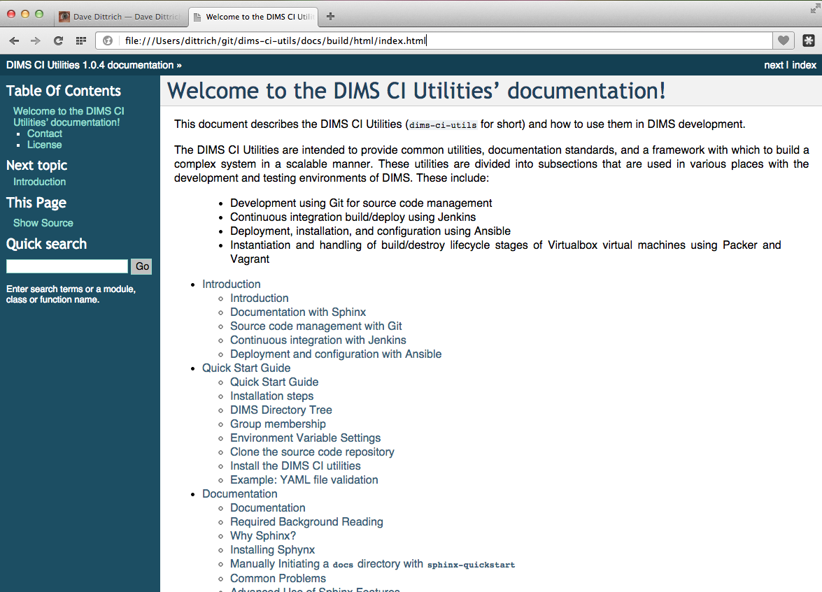 5  Documenting DIMS Components — DIMS User Manual 0 2 1
